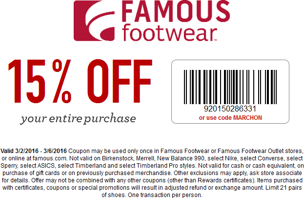 Famous Footwear Coupon December 2016 15% off at Famous Footwear, or online via promo code MARCHON