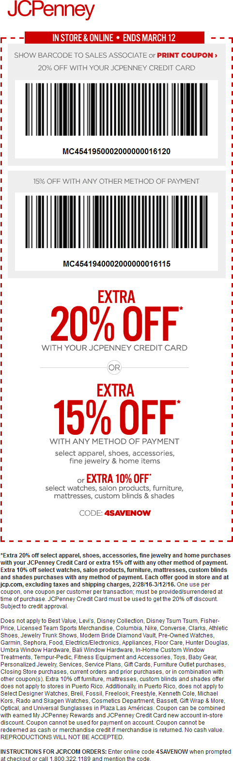 JCPenney Coupon October 2016 15% off at JCPenney, or online via promo code 4SAVENOW