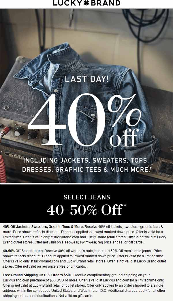 Lucky Brand Coupon July 2018 40% off tops & more today at Lucky Brand, ditto online