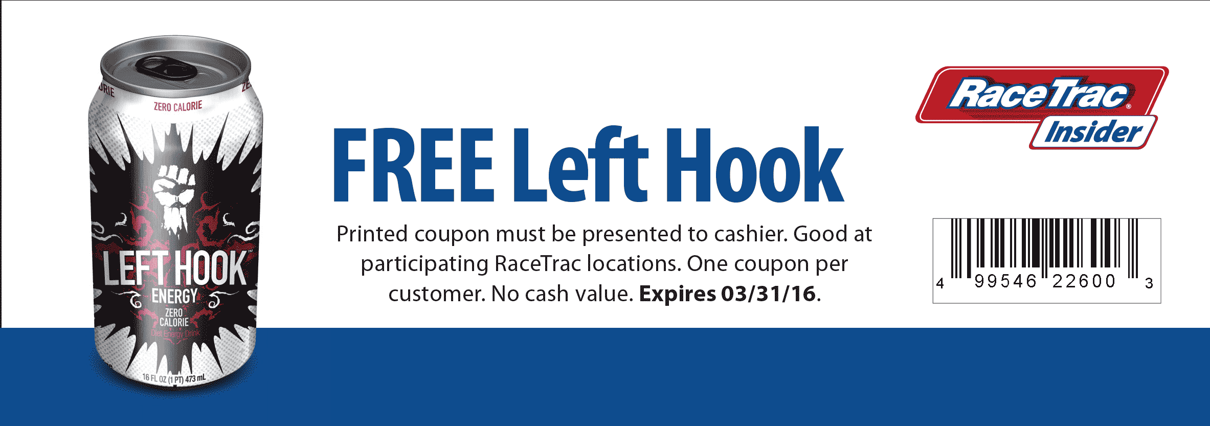 RaceTrac Coupon January 2017 Free energy drink at RaceTrac gas stations