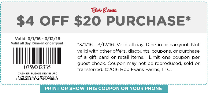 Bob Evans Coupon July 2017 $4 off $20 at Bob Evans restaurants
