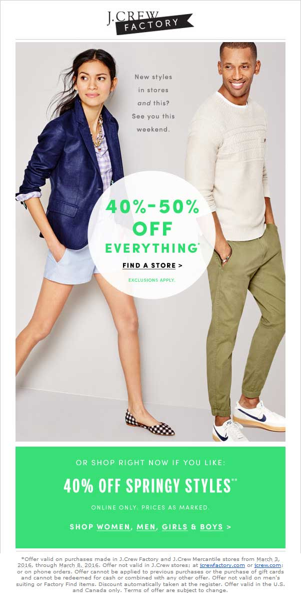 J.Crew Factory Coupon May 2017 Extra 40-50% off everything at J.Crew Factory