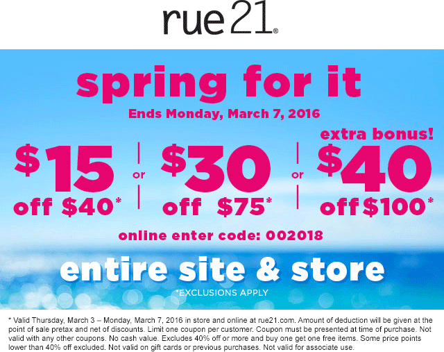 Rue21 Coupon March 2017 $15 off $40 & more at rue21, or online via promo code 002018