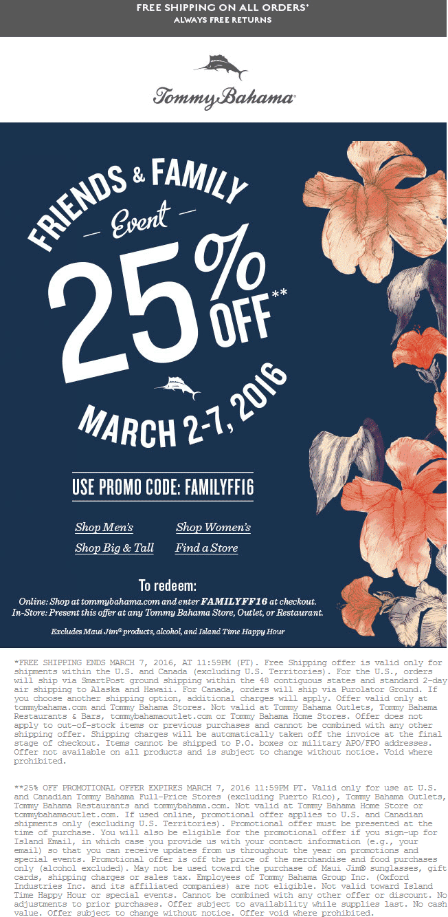 Tommy Bahama Coupon May 2019 25% off at Tommy Bahama, or online via promo code FAMILYFF16