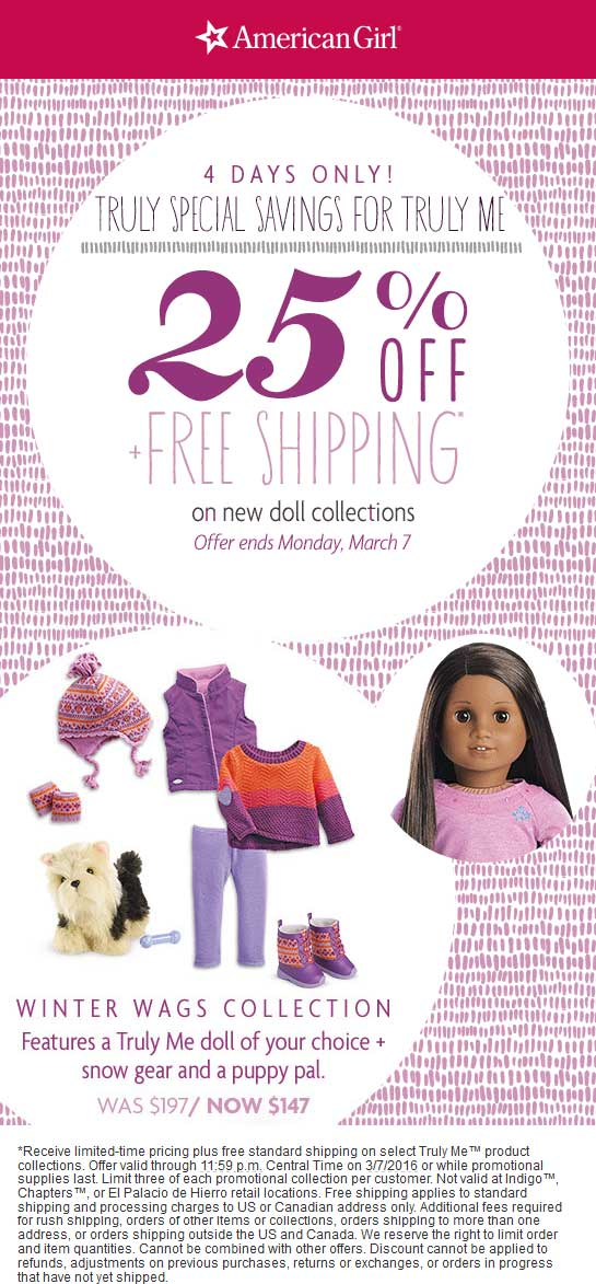 American Girl Coupon January 2017 25% off new doll collections at American Girl, ditto online
