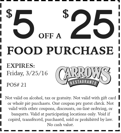 Carrows Coupon August 2018 $5 off $25 at Carrows restaurants