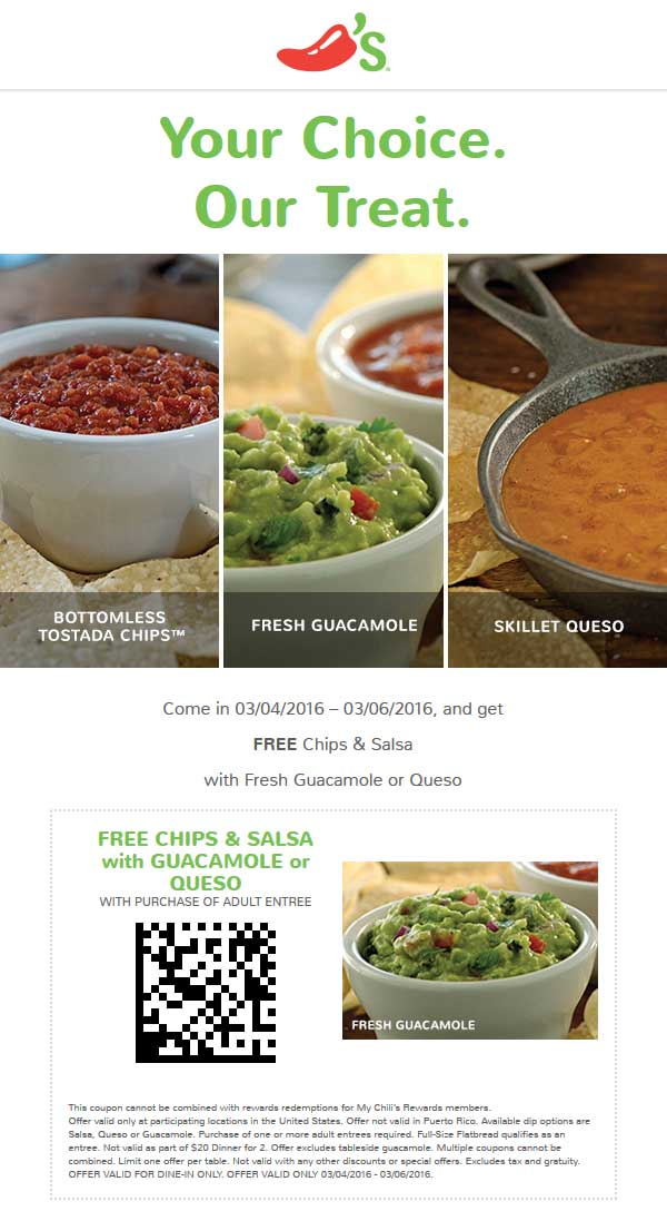 Chilis Coupon September 2017 Free guacamole, queso or chips & salsa with your entree at Chilis