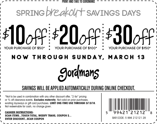 Gordmans Coupon January 2019 $10 off $50 & more at Gordmans, ditto online