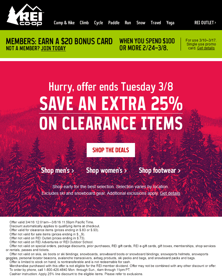 REI Coupon March 2018 Extra 25% off clearance at REI, ditto online