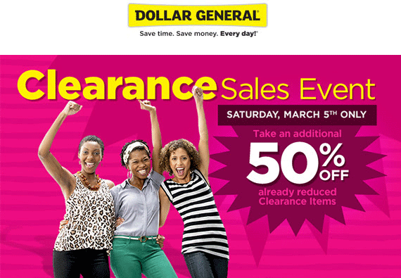 Dollar General Coupon January 2018 Extra 50% off clearance today at Dollar General, ditto online