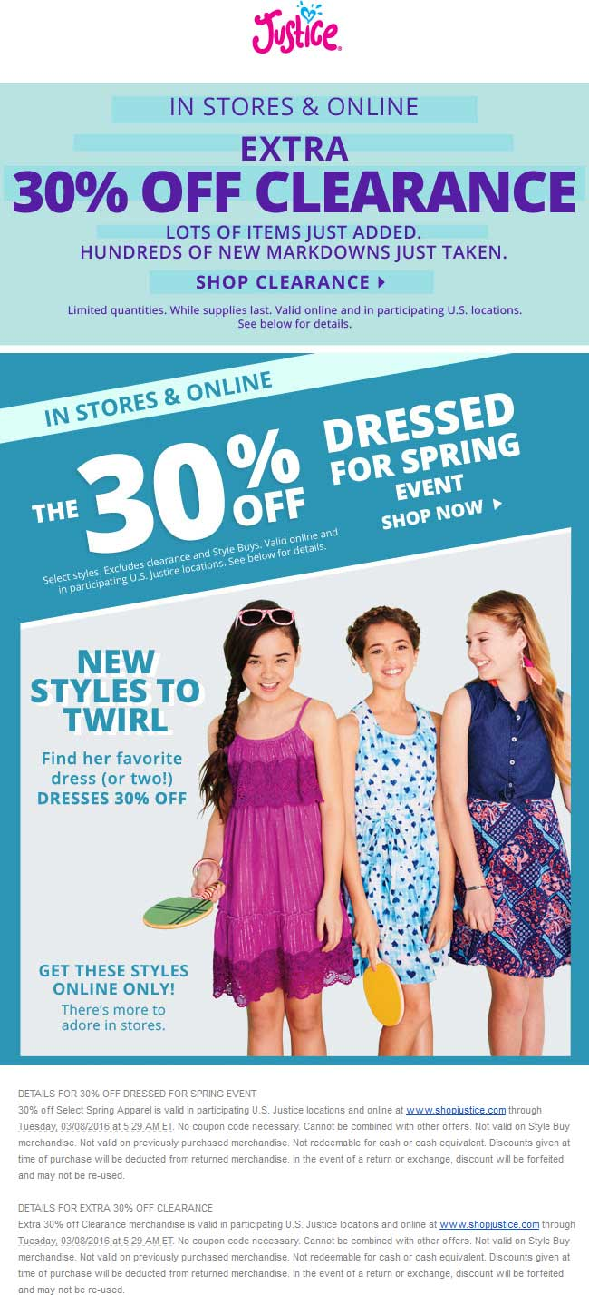 Justice Coupon August 2017 Extra 30% off spring styles & clearance at Justice, ditto online