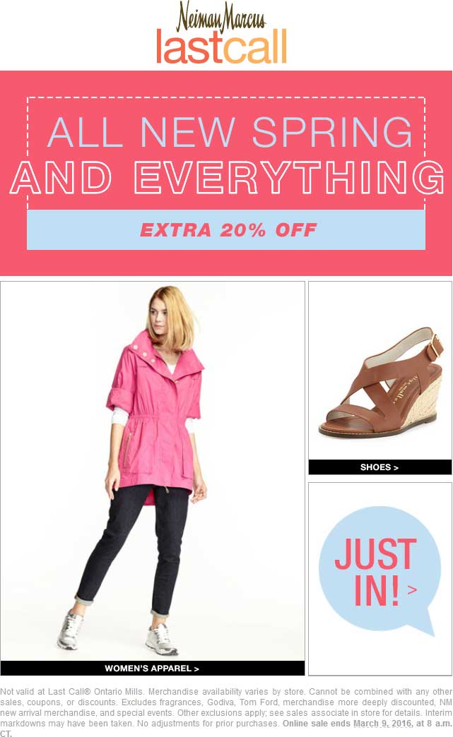 Last Call Coupon May 2019 20% off everything at Neiman Marcus Last Call, ditto online