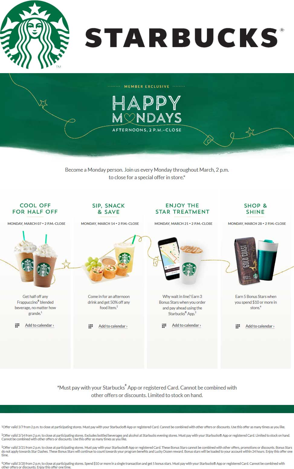 Starbucks Coupon March 2017 50% off Frappuccinos Monday after 2pm at Starbucks