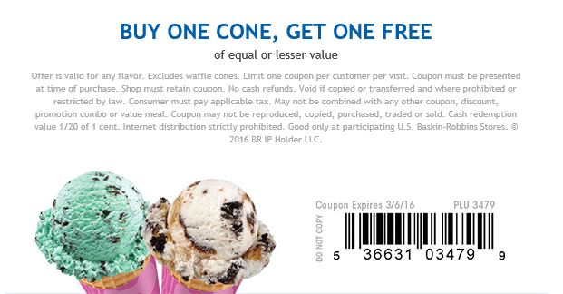 Baskin Robbins Coupon July 2017 Second ice cream cone free today at Baskin Robbins