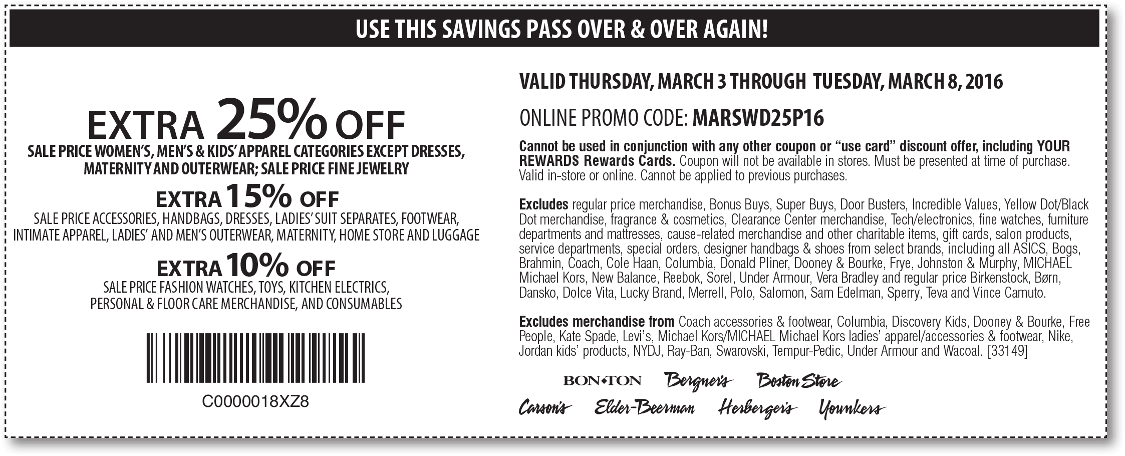 Carsons Coupon November 2018 Extra 25% off sale apparel at Bon Ton, Carsons, Boston Store, Elder-Beerman, or online via promo code MARSWD25P16