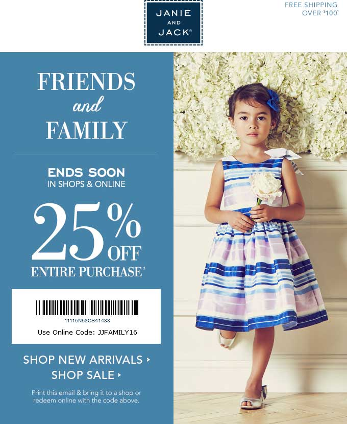 Janie and Jack Coupon June 2017 25% off today at Janie and Jack, or online via promo code JJFAMILY16