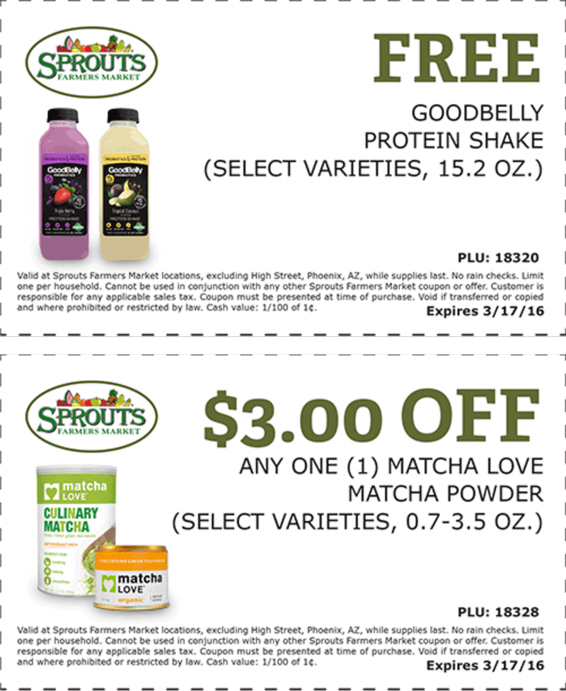 Sprouts Farmers Market Coupon July 2018 Free protein shake at Sprouts Farmers Market