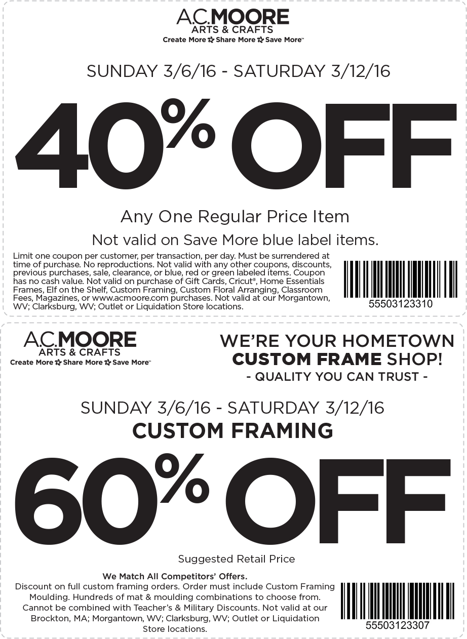 A.C. Moore Coupon June 2017 40% off a single item at A.C. Moore