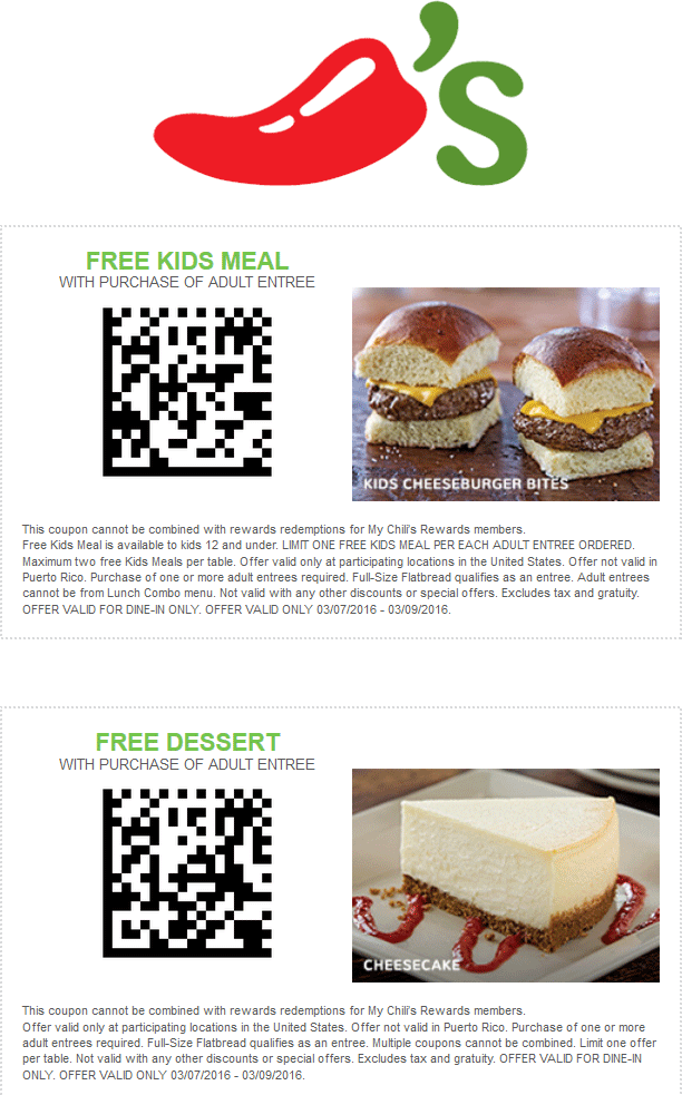 Chilis Coupon June 2019 Free kids meal or dessert with your entree at Chilis