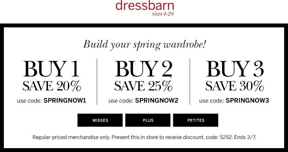 Dressbarn Coupon July 2017 20-30% off today at dressbarn, or online via promo code SPRINGNOW1