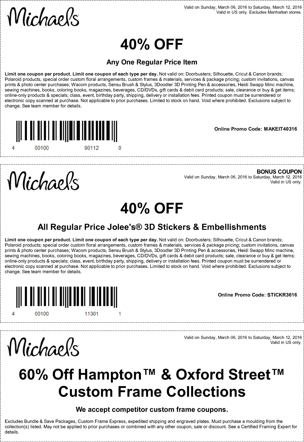 Michaels Coupon February 2017 40% off a single item at Michaels, or online via promo code MAKEIT40316
