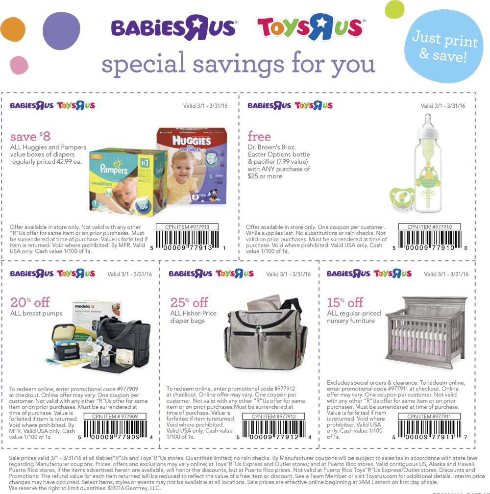 Toys R Us Coupon January 2018 $8 off diapers, free bottle & more at Toys R Us & Babies R Us