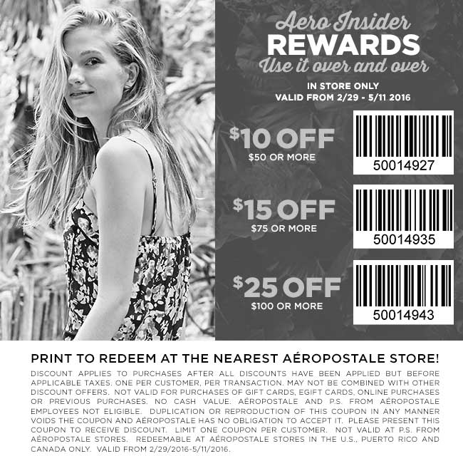 Aeropostale Coupon February 2017 $10 off $50 & more at Aeropostale