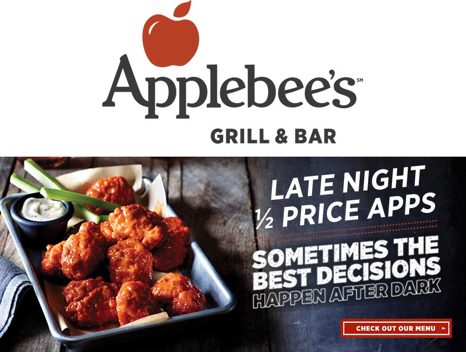 Applebees.com Promo Coupon Appetizers are 50% off after 9pm at Applebees