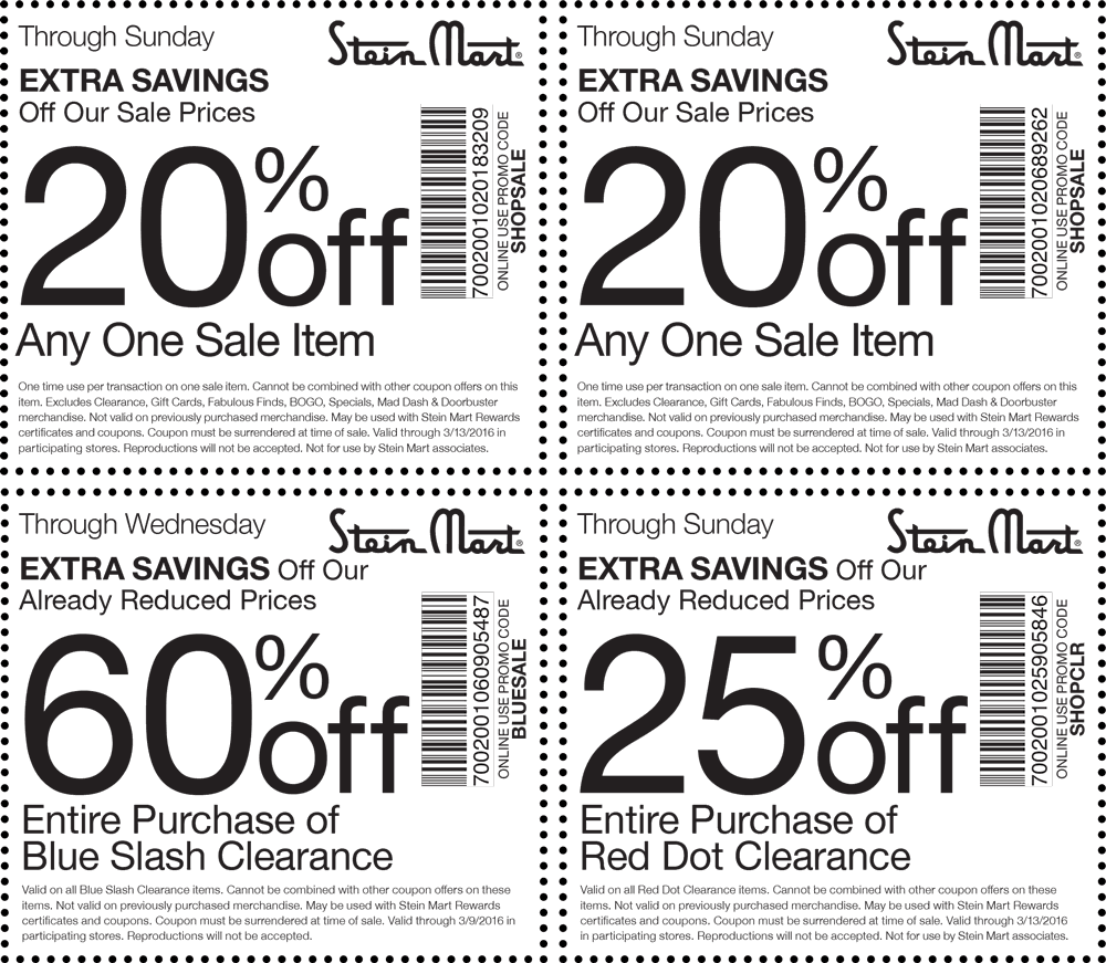 Stein Mart Coupon January 2017 Extra 20% off a sale item, 60% off clearance & more at Stein Mart, or online via promo code SHOPSALE