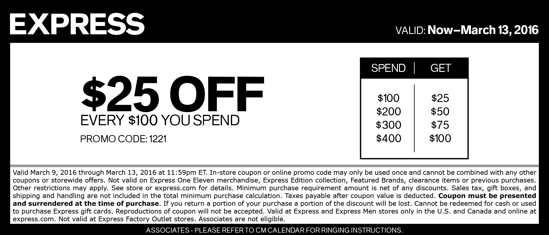 Express Coupon February 2017 $25 off every $100 at Express, or online via promo code 1221