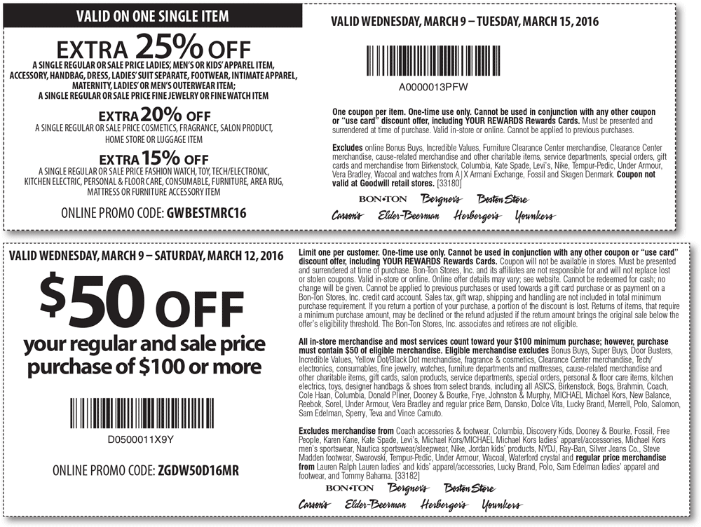 Carsons Coupon May 2018 $50 off $100 & more at Carsons, Bon Ton & sister stores, or online via promo code ZGDW50D16MR
