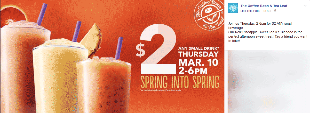 Coffee Bean & Tea Leaf Coupon June 2017 Any small drink for $2 today at The Coffee Bean & Tea Leaf