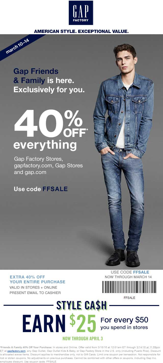 Gap Coupon April 2017 40% off everything at Gap, Gap Outlet, Gap Outlet Kids & Baby, or Gap Factory Store, or online via promo code FFSALE