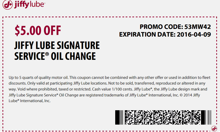 Jiffy Lube Coupon October 2016 $5 off an oil change at Jiffy Lube