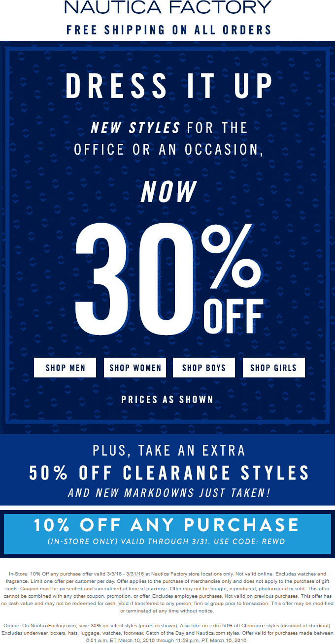Nautica Factory Coupon February 2017 Extra 50% off clearance + 10% off everything at Nautica Factory