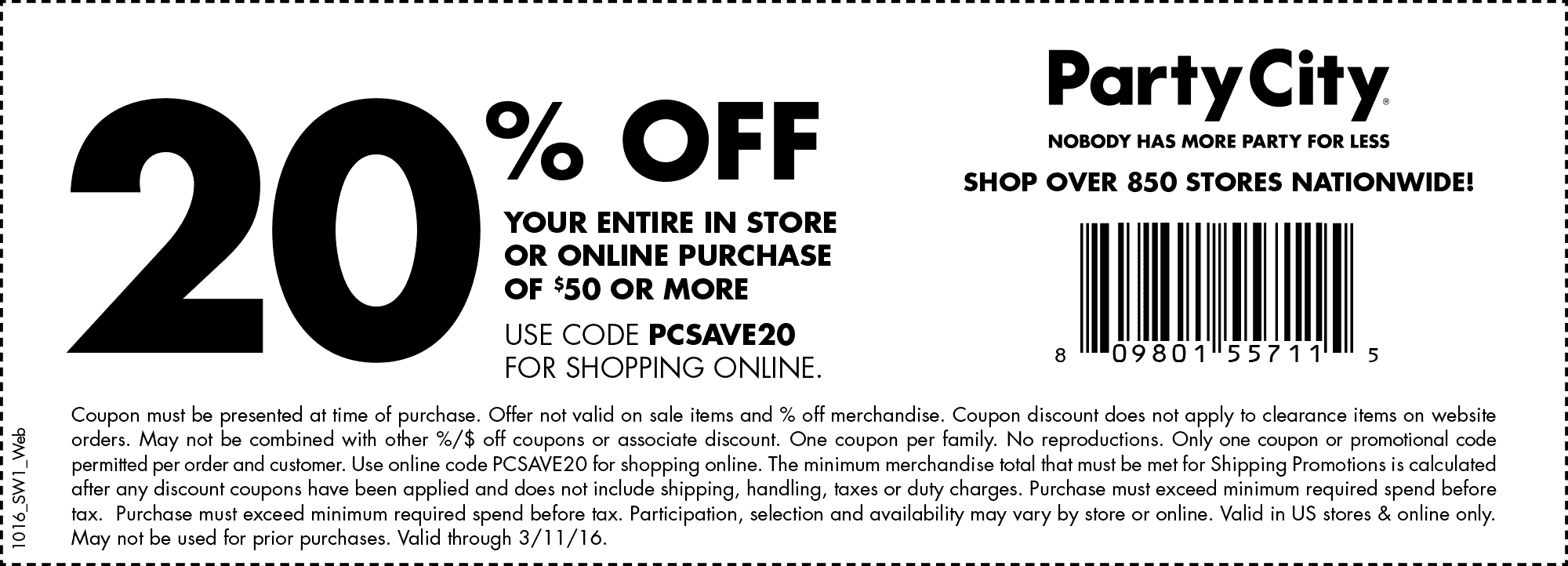 Party City Coupon October 2019 20% off $50 at Party City, or online via promo code PCSAVE20
