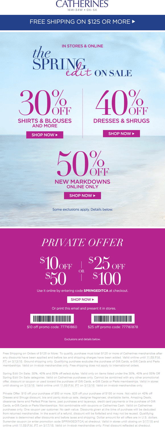 Catherines Coupon February 2018 $10 off $50 & more at Catherines, or online via promo code SPRINGEDITCA