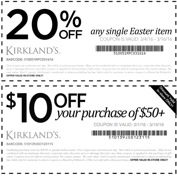 Kirklands Coupon April 2019 20% off a single easter item & $10 off $50 at Kirklands