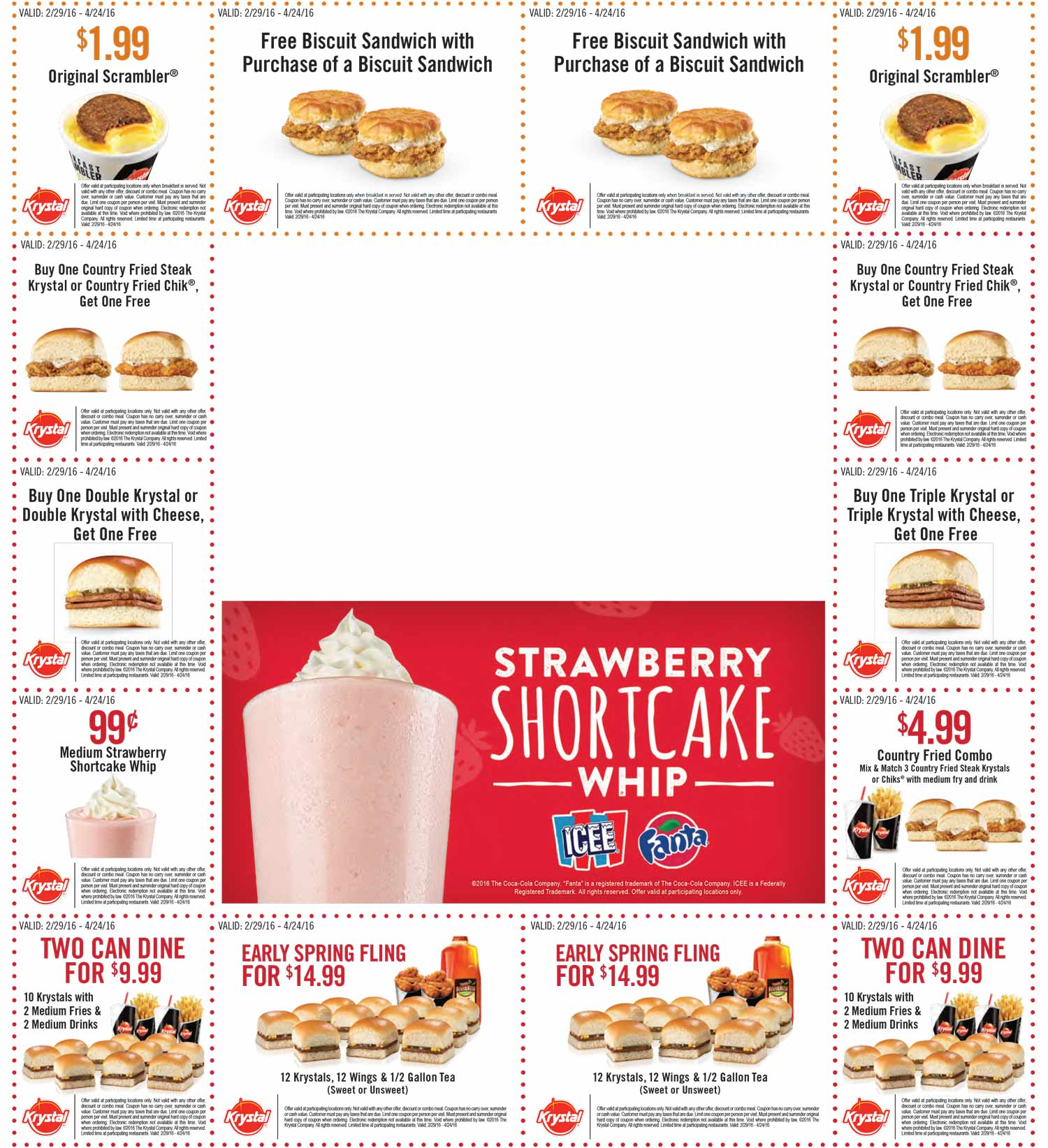 Krystal Coupon October 2016 Various two-for-one deals at Krystal restaurants