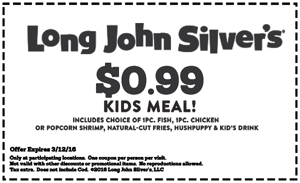 Long John Silvers Coupon July 2019 Kids meal for a buck at Long John Silvers