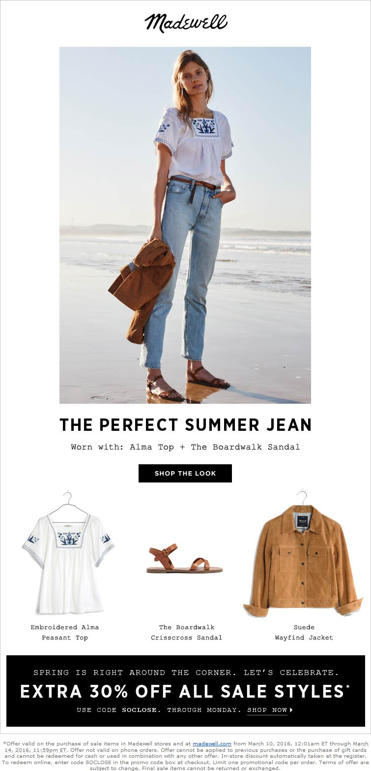 Madewell Coupon June 2018 Extra 30% off sale items at Madewell, or online via promo code SOCLOSE