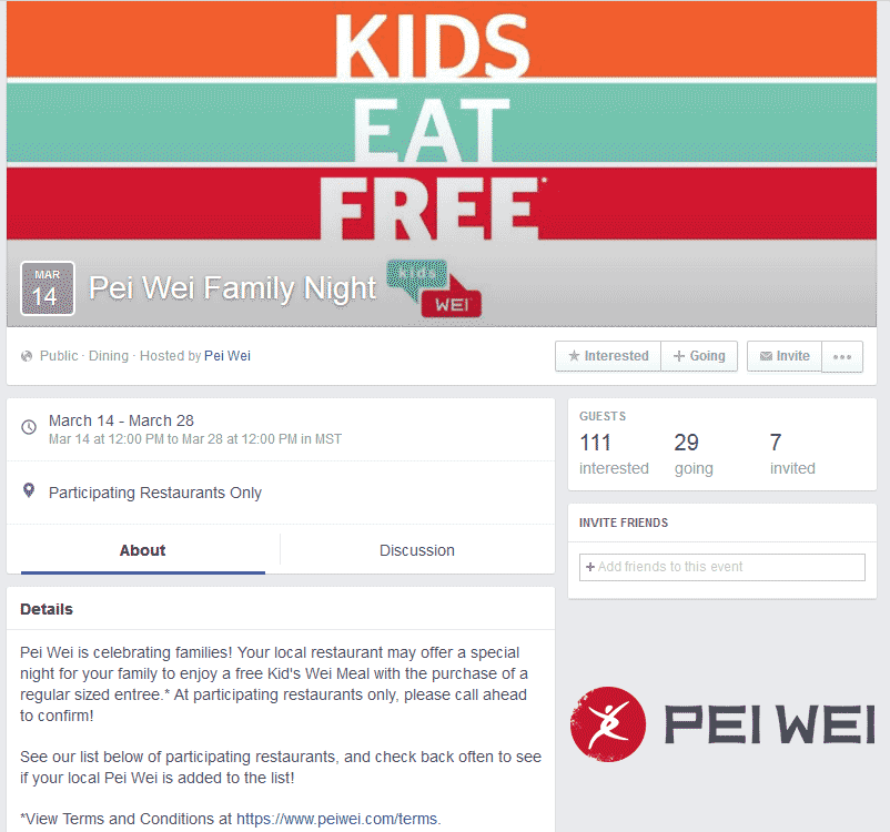 PeiWei.com Promo Coupon Kids eat free Monday at Pei Wei Asian diner