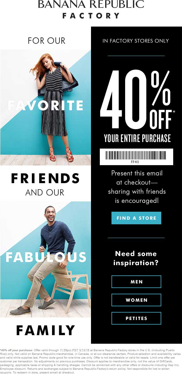 Banana Republic Factory Coupon January 2018 40% off at Banana Republic Factory