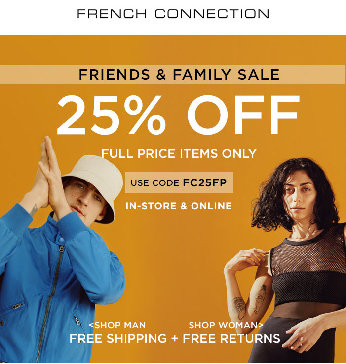 FrenchConnection.com Promo Coupon 25% off at French Connection, or online via promo code FC25FP