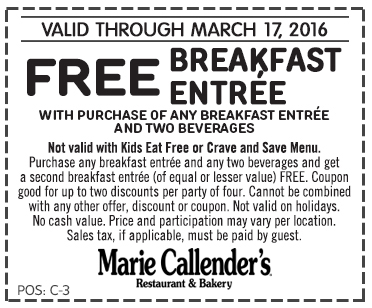 Marie Callenders Coupon October 2016 Second breakfast free at Marie Callenders