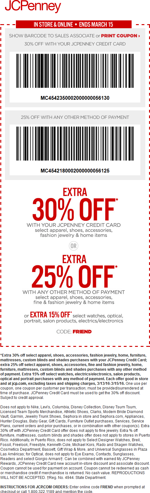 JCPenney Coupon February 2017 25% off at JCPenney, or online via promo code FRIEND