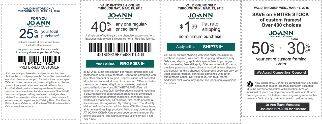 Jo-Ann Fabric Coupon September 2018 40% off a single item & more at Jo-Ann Fabric, or online via promo code BBGP093