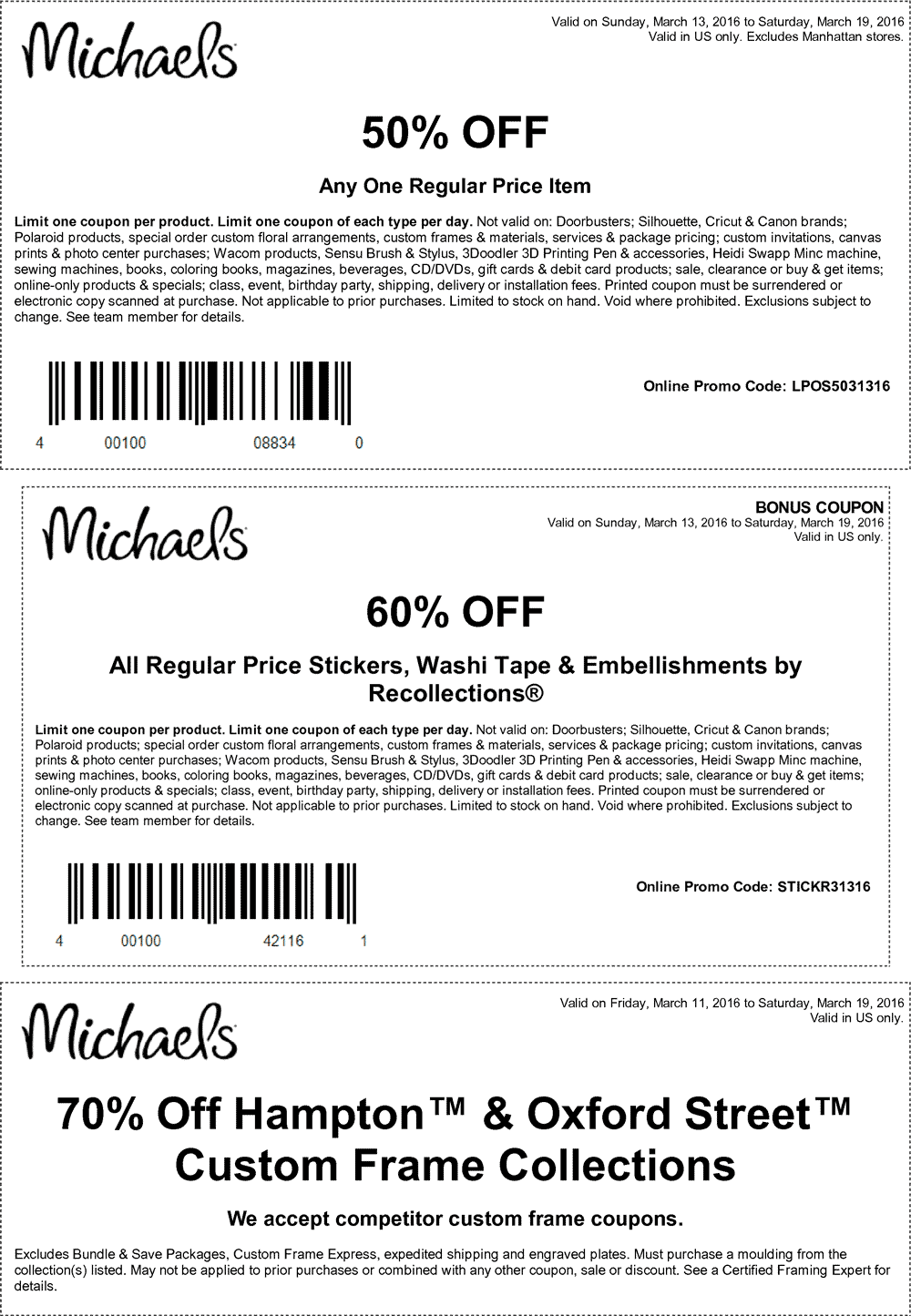 Michaels Coupon November 2018 50% off a single item at Michaels, or online via promo code LPOS5031316