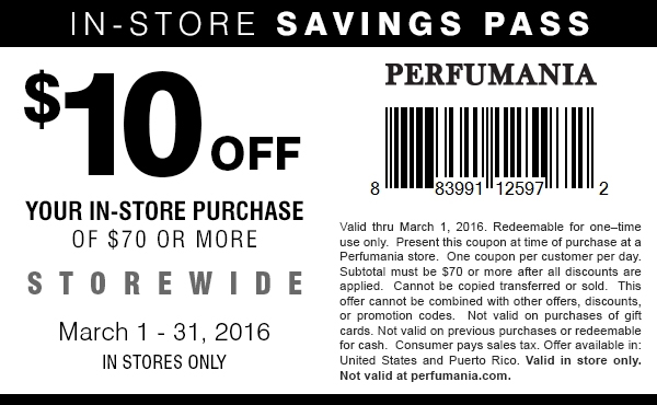 Perfumania Coupon October 2018 $10 off $70 at Perfumania