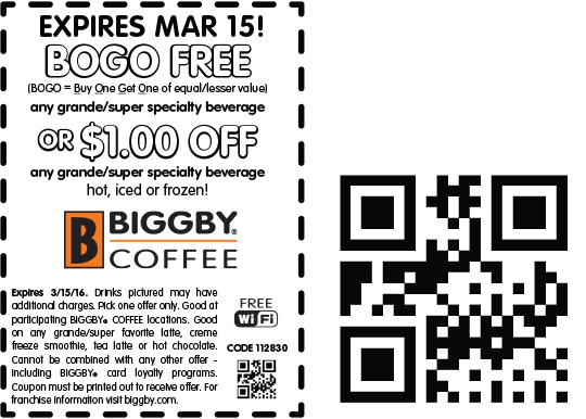 Biggby Coffee Coupon December 2016 Second beverage free at Biggby Coffee